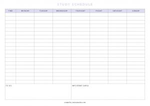 Study schedule without times (monday start) PDF