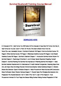Survival Bushcraft Training Course Manual