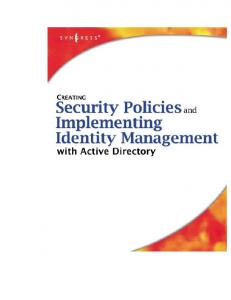 Syngress - Creating Security Policies and Implementing Identity Management with Active Dir
