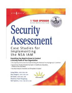 Syngress - Security Assessment Case Studies for Implementing the NSA IAM