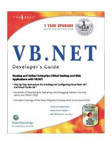 Syngress - VB.NET Developers Guide