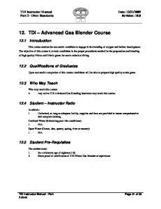 TDI Advanced Gas Blender Course