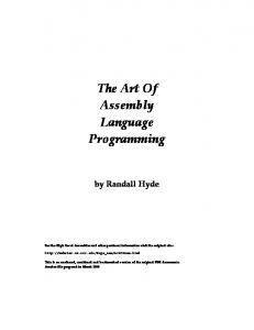 The Art Of Assembly Language Programming