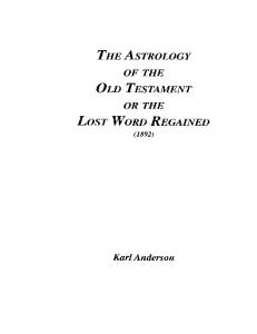 The Astrology of the Old Testam - Anderson Karl