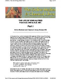 THE LIFE OF KING ALFRED 1