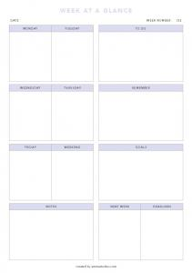 Week at a glance without lines PDF